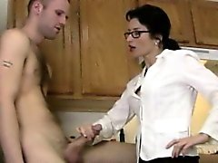 Cocksucking spex milf handles dick