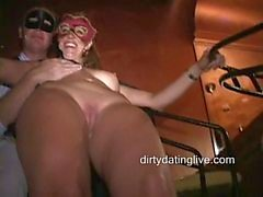 Masked MILFs Tara Jean and Amy suck cock and get fucked hard at orgy