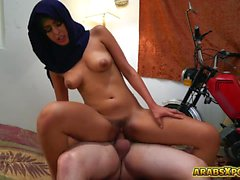 Arab refugee takes a big cock in her pussy