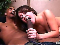 Teen swallowing big stiff black dick