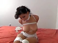 tightly tied up struggled on bed