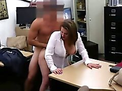 Busty business woman sells her wet pussy