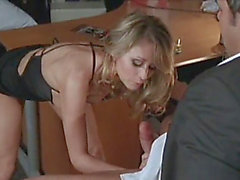Classic monique alexander receives team-fucked in an office