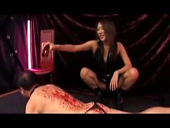 Kinky guy has a sensual Japanese mistress covering his body
