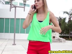 Little stranded blonde teen fucked for a ride