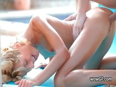 Great exciting blond teenage blowing