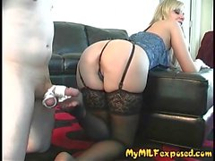 My MILF Exposed Hot blonde in black stockings pussy tease
