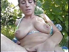 Lactating mom milks her nipples and plays with her hairy pits and snatch outside
