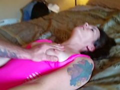 PorscheLynn having multiple orgasms in her pink out fit..