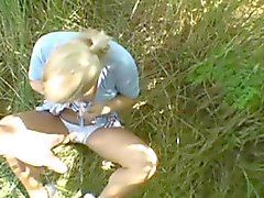 Blonde Bimbo Taking Facial Cumshot Outdoors In Public