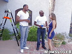 Busty MILF got her hairy cunt drilled by two black dicks