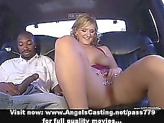 Amateur superb sexy blonde babe undressing in a car
