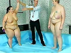 Exciting lesbo toying & fucking after BBW wrestling match