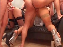 Stunning MILFs in hot anal group action