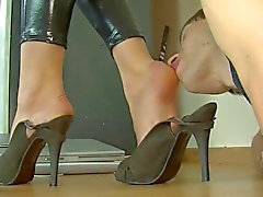 polish slut in shiny spandex catsuit foot licking