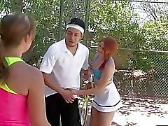 Two cute besties scuks and fucking with tennis coach
