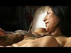 Helpless Japanese girl with big boobs gets her tight pussy