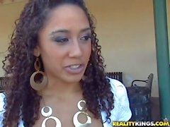 Curly Young latina in white sexy outfit teases Sergio