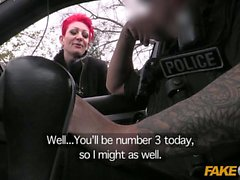 Fake Cop Policeman spunks over tits n tattoos