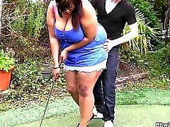 Ebony BBW gets pounded by a golf coach