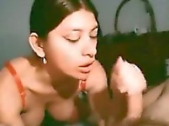 Girl from Peru - Very first time camera blowjob