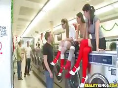 Kortney Kane and two of her friends get fucked in the laundromat