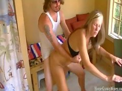 Busty blonde wife cheating on her husband with the new pool boy