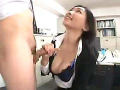 Sultry secretary strokes a fat dick and takes a hot load on