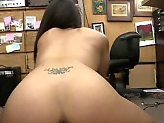 Slutty Brunette Lilly Hall Taking Facial In Pawn Shop