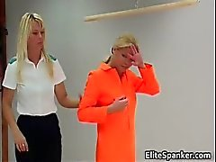 Blond in orange rug muncher slapping