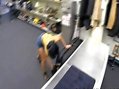 Asian babe at pawn shop sells massage