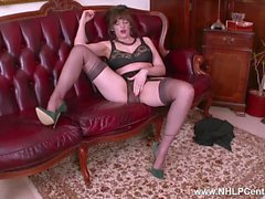 Big natural tits brunette Kate Anne masturbates in retro nylons garter belt and high stilettos