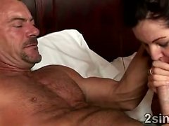 Gorgeous big stacked brunette sucks her husbands best friend