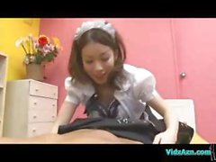 Cute Asian girl in a maid's outfit blows him and gets shagged