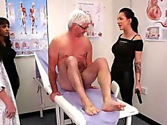 Cfnm babes jerk old guy