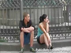 Daring PUBLIC TEEN threesome AWESOME
