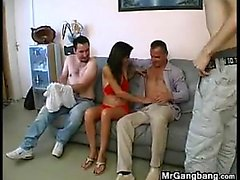 Horny Wife Gets Fucked In A Gang Bang