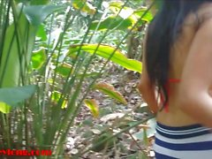Britney Long goes on beach jungle trek and gets facial