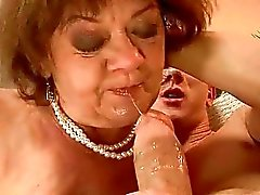 Ugly fat granny riding young cock