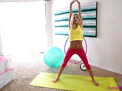 Braces wearing blonde Piper Perri finishes her workout with