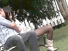 Sexy teen Asian babe flashing cunt in pantyhose outdoor