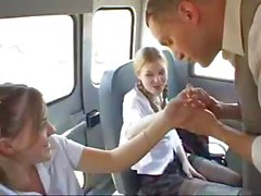 Young schoolgirls in pigtails suck and fuck the bus driver POV style