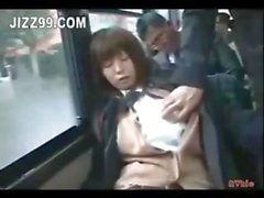 Busty Japanese schoolgirl gets felt up and fingered on a bus