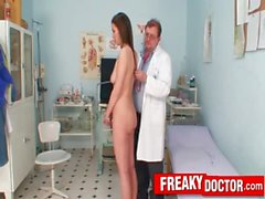 Gorgeous brunette Katie Cox obgyn check-up at dirty clinic