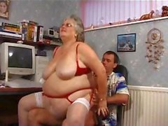 Fat grandma in red with big boobs gets drilled and a facial