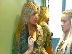 Blondes in uniform catch a cock