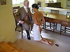 Man disciplines his maid