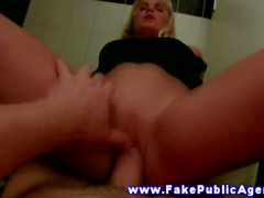 Horny blond real euro fucked while wearing spex