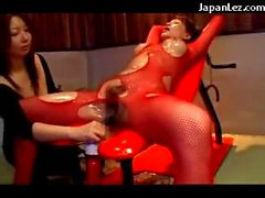 Asian Girl In Red Fishnet Dress Getting Her Tits Belly Tortured With Hot Wax Pussy Fucked With Vibrator