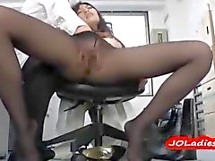 Office Lady In Pantyhose Fingered On The Chair In The Office